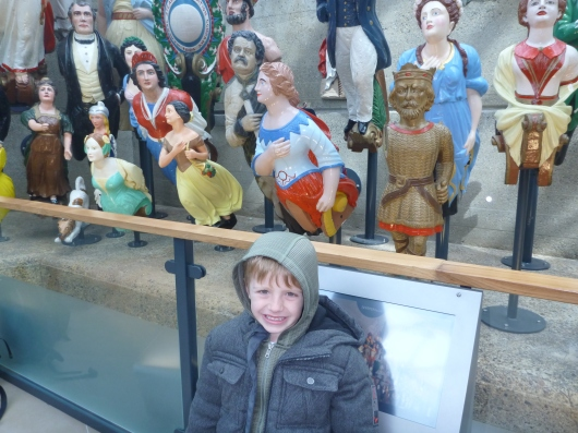 T with the Long John Silver figurehead exhibit aboard the Cutty Sark.