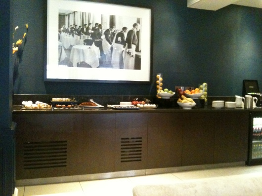 A view of the executive lounge's buffet, or a common view that we had while visiting London and during our stay at The Waldorf Hilton.