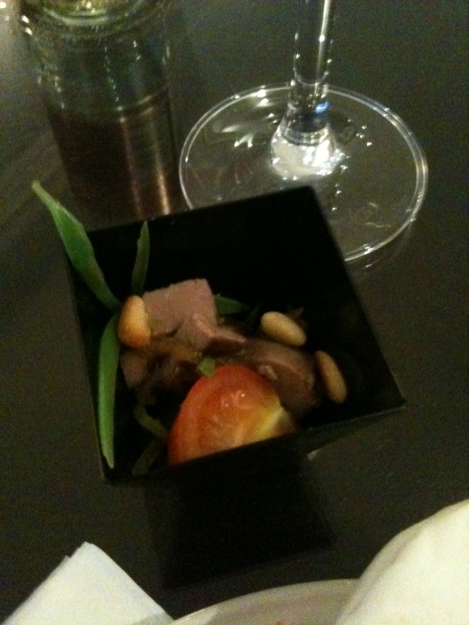 Duck appetizer from The Waldorf Hilton's executive lounge.