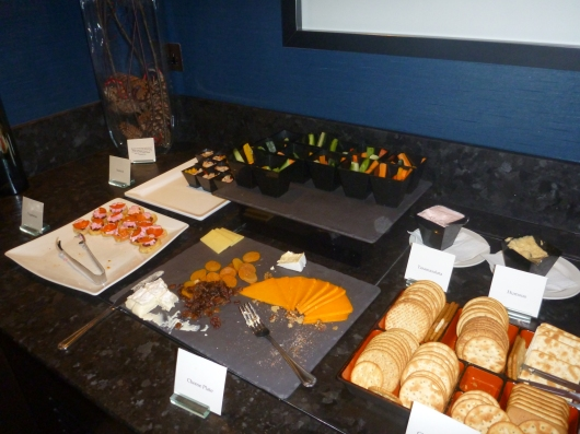 So many choices in The Waldorf Hilton's executive lounge. This doesn't even show the hot appetizer choices! Also don't let the sparse platters fool you; staff rarely let them stay this way for very long.