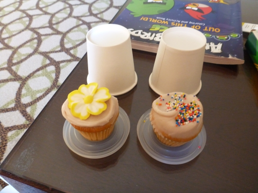 Our first round of minis from Primrose Bakery. I love the idea of packing minis to-go in lidded mini paper cups!