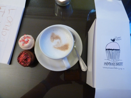 My second-round of sweets from Primrose Bakery in Covent Garden. Coffee from The Waldorf Hilton executive lounge.