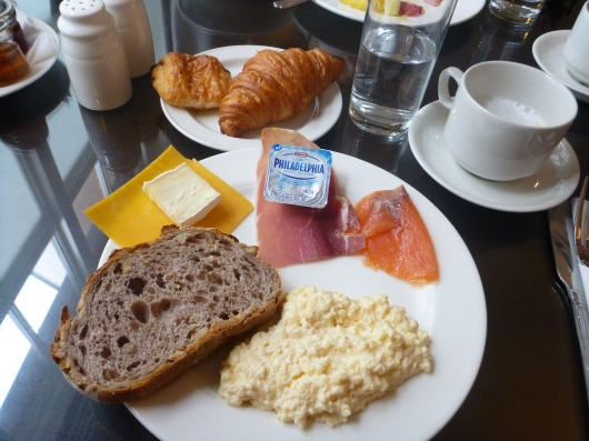 This is how my breakfast looked pretty much every morning during my stay at The Waldorf Hilton, London. This was all from the complimentary breakfast buffet in the executive lounge.
