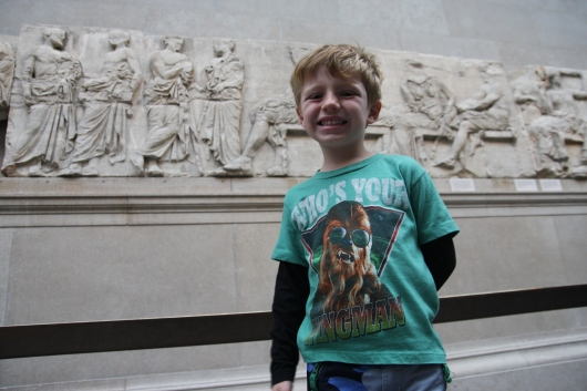 T with some of the Elgin Marbles at the British Museum.