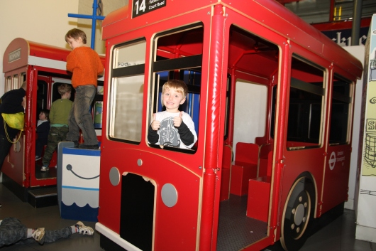T in the London Transport Museum kids' corner, a play area for children under six-years-old.