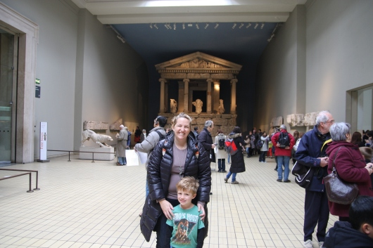 T and I with the Pantheon at the British Museum.