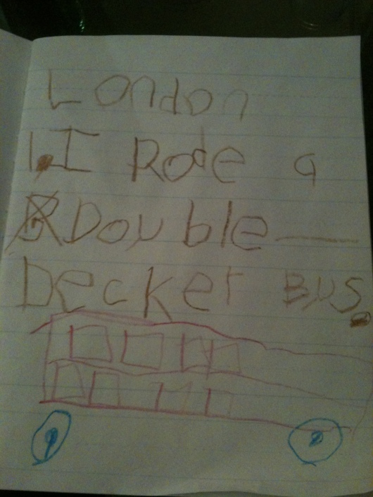 One of about 16 journal entries T made during our 17-day European holiday.
