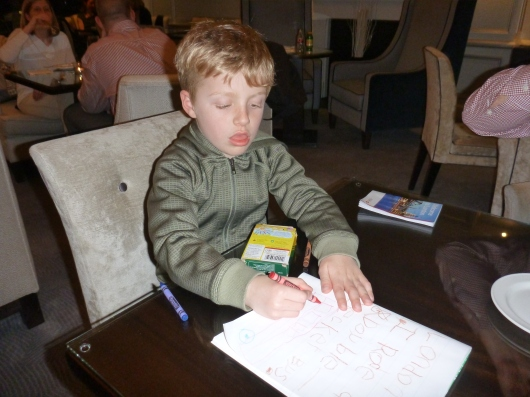 T wrote in his trip journal during happy hour daily while we visited The Waldorf Hilton's executive lounge.
