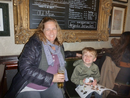 T and I at the White Lion Pub in Covent Garden.