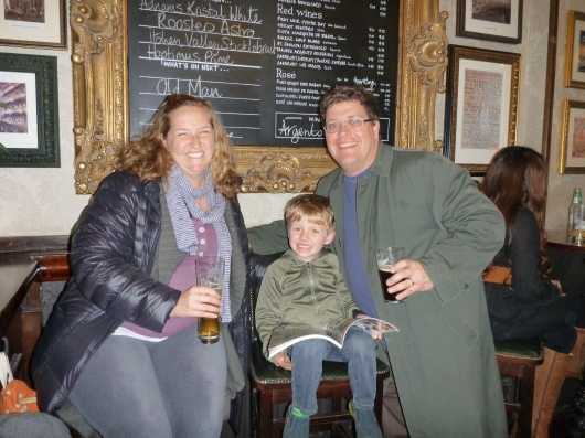 The three of us enjoying a quick-stop at The White Lion Pub in Covent Garden.
