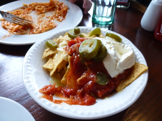 Nachos at The Ship Anson. I don't know what the white stuff was but it was not sour cream, or if it was it was unlike any I've ever had. We got these for T. He (and we) were missing our food back home big time by this point in the trip.