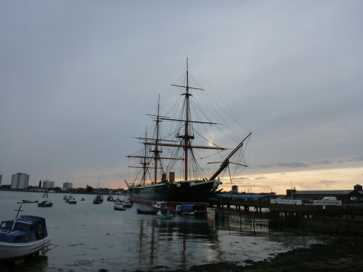 Portsmouth Harbour at sunset (UK).
