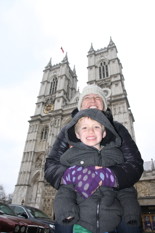 T and I in front of Westminster Abbey. I didn't understand that I should look into the camera lens for these sort-of shots. Sorry, C!