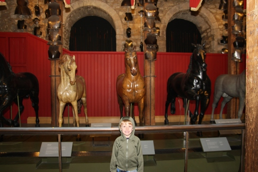 Royal horse exhibit inside White Tower, Tower of London.
