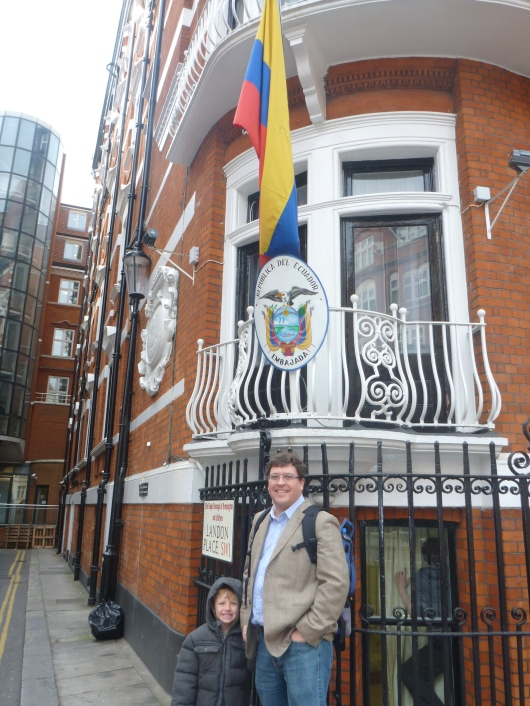 T and C in front of the Embassy for Ecuador in London's Knightsbridge neighborhood. And believe it or not, we were not the only one snapping photos here, so we're not the only quirky London tourists out there!