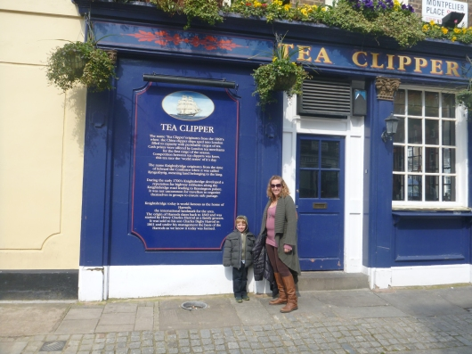 T and I in front of The Tea Clipper pub.