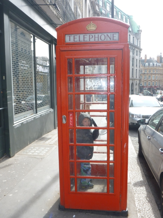 T loved London so much he had to call home (or at least pretend to call) and tell everyone all about it!