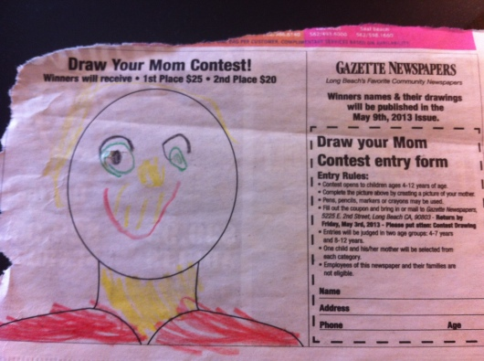 T's personal depiction of me, and T's first contest entry. This is a keeper if they mail it back to us.