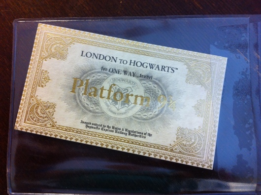 A golden ticket from Platform 9-3/4 and the Harry Potter Shop in London.