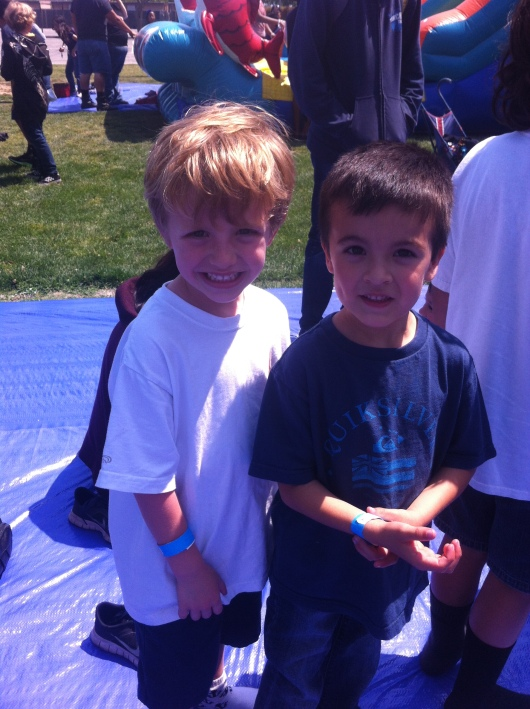 T and his buddy from his class at their school carnival.