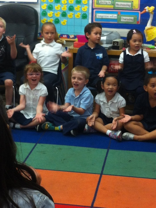 "T performing part of ""Goldilocks and the Three Bears"" with his TK class at their end-of-year classroom ceremonies."
