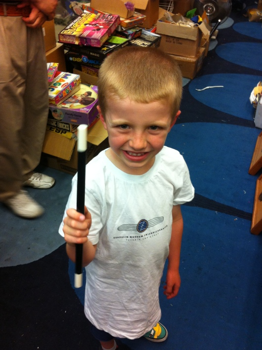 T got his magic wand... and for a whole lot less than it would have cost us at that Harry Potter store in London!