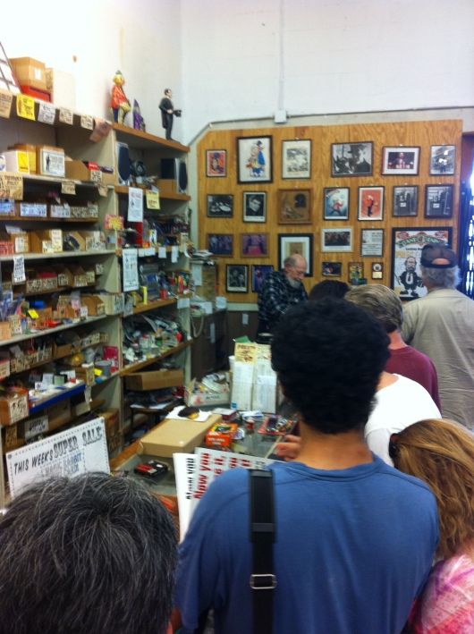 "A line for Frederic ""Presto"" Broder at Presto Magic, his magic shop of 30+ years in Long Beach (CA). The store closes for good May 31, 2013."