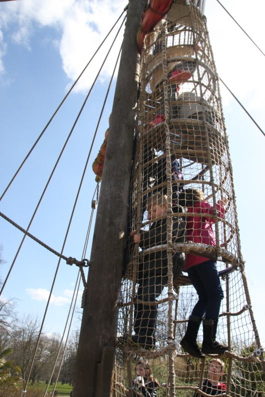 T climbs up the mast... will he make it to the top?