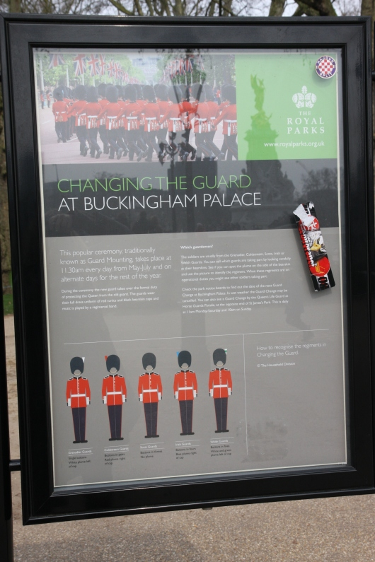 Information about Changing of the Guard at Buckingham Palace along with a rough schedule on public display in Green Park. The ceremony is free to watch from behind controlled barracades, but do note you should show up at least 30-to-45 minutes to get a good viewing spot.