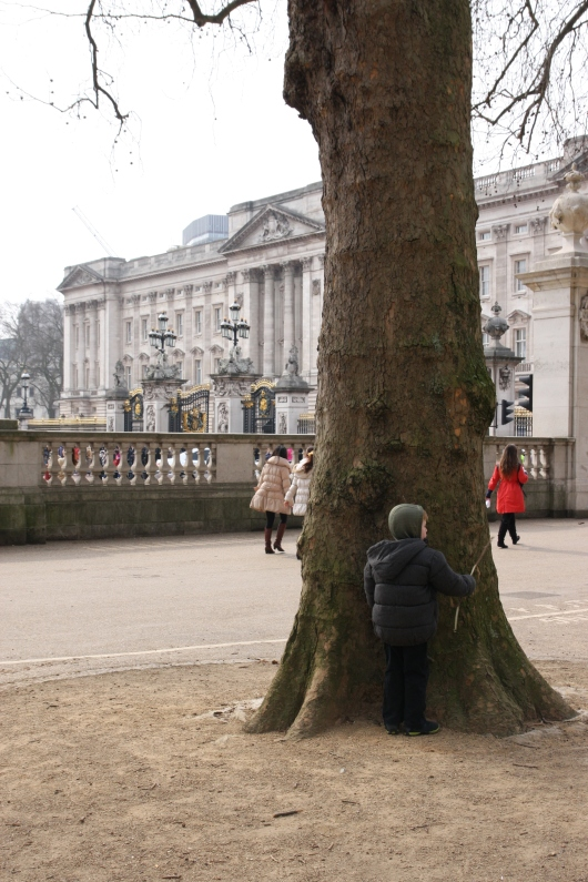 Rather than watch the changing of the guard at Buckingham Palace, T chose to hit a tree with a stick.