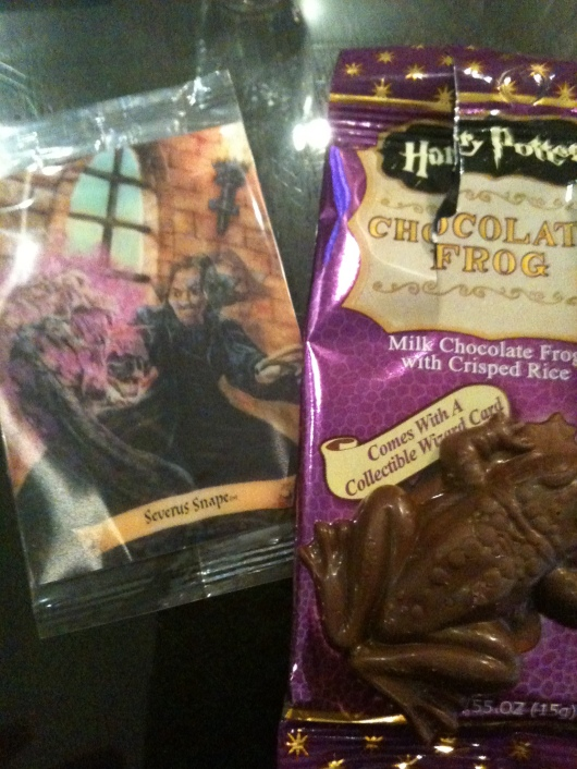 A chocolate frog from the Harry Potter Shop, complete with Collectable Wizard Card!
