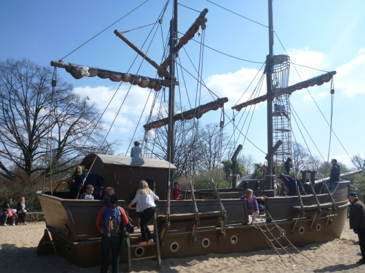 The pirate ship inside the Diana Princess of Wales' Memorial Playground in Kensington Gardens.