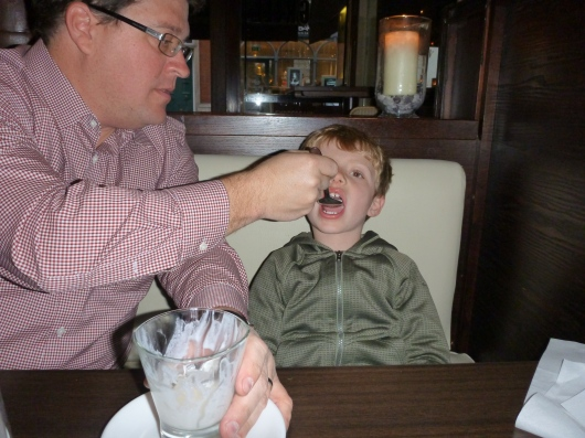 T enjoys the kid-friendly part of our experience at Covent Garden Grill.