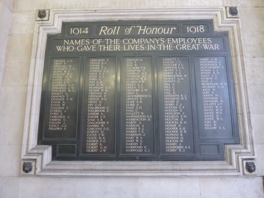 Memorial at Waterloo Station in London. This station is where you depart for Brookwood Cemeteries, where many soldiers from World Wars I and II are buried.