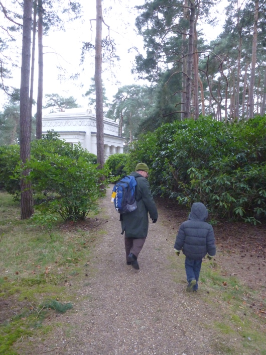 C and T heading down the path and into Brookwood Military Cemeteries outside of London.