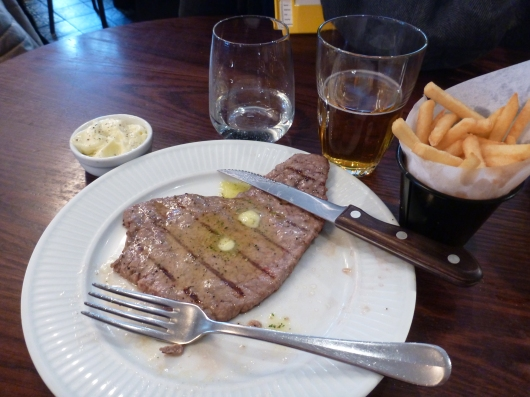Steak Frites at Cote Brasserie, a lovely little French restaurant chain in London.