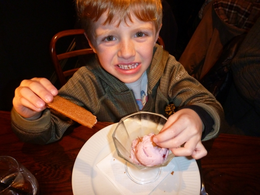 T with his strawberry ice cream and cookies at Cote Brasserie.