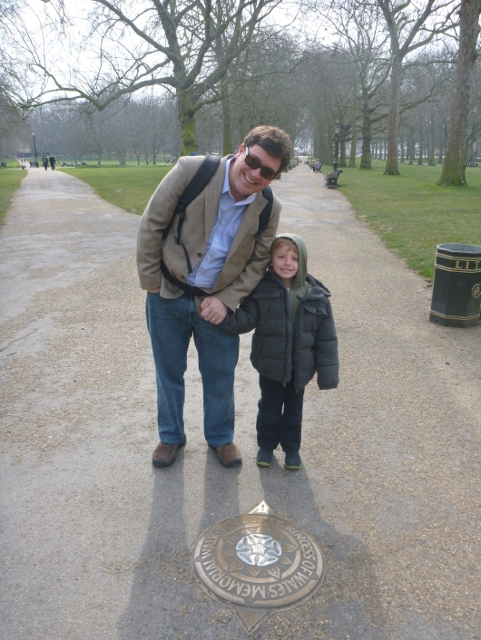 C and T in London's Green Park. The paths behind the boys lead to Buckingham Palace.