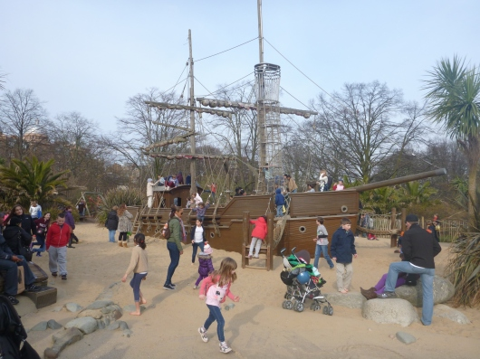 Another view of the large pirate ship in the Diana, Princess of Wales' Memorial Playground, London.