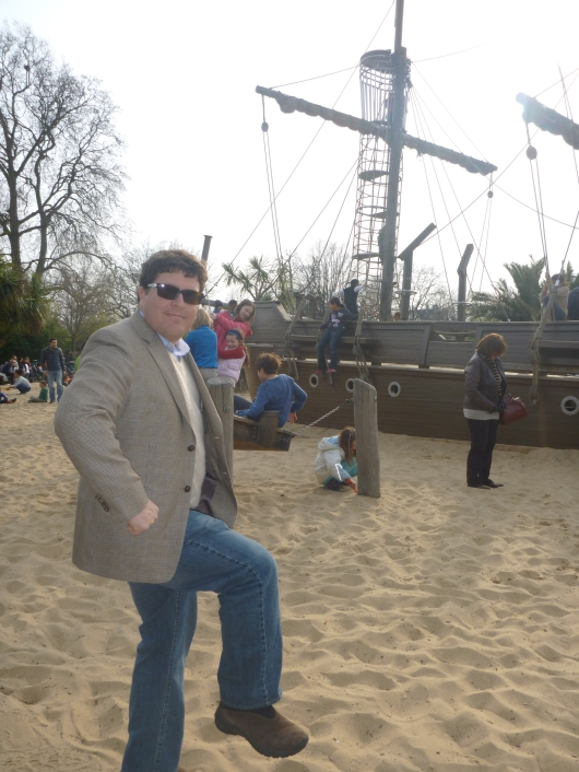 """C does his best """"Capt'n Morgan"""" at the Diana, Princess of Wales' Memorial Playground. Yep, parents can get in on the fun here, too!"""