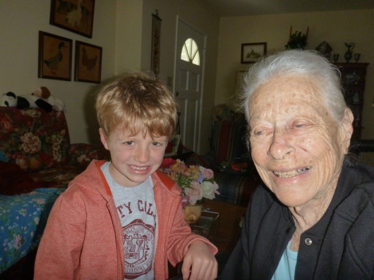 T with his great-grandma H at her house last Sunday.