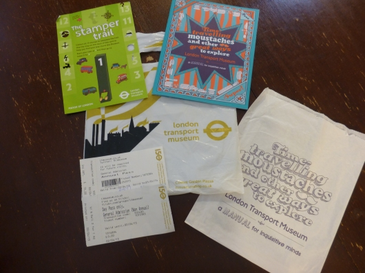 Our take-aways from the London Transport Museum. These all were included in the price of admission. The tickets in the lower left show the 2-for-1 we received and also how the paid admission was turned into the year-long pass. Brilliant deal!