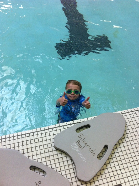 T gives Coach Bob two thumbs up! We're going to miss him and our weekly swim lessons, but it's time to move on... for now anyway!