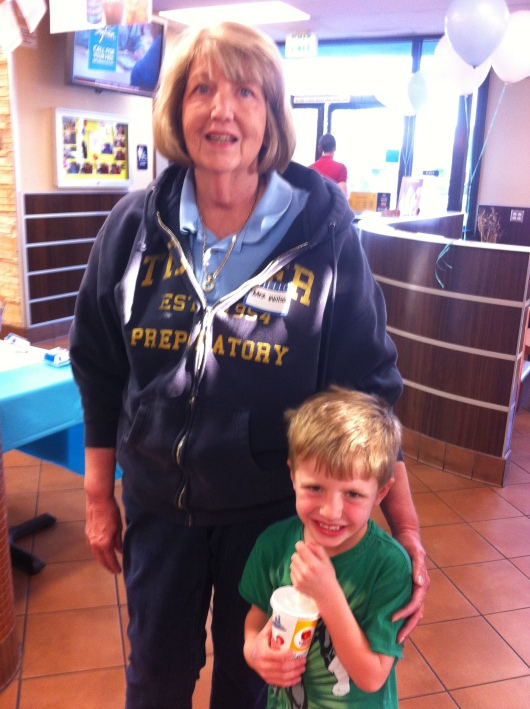 T with Mrs. Willson at McTeacher night (March 2013).