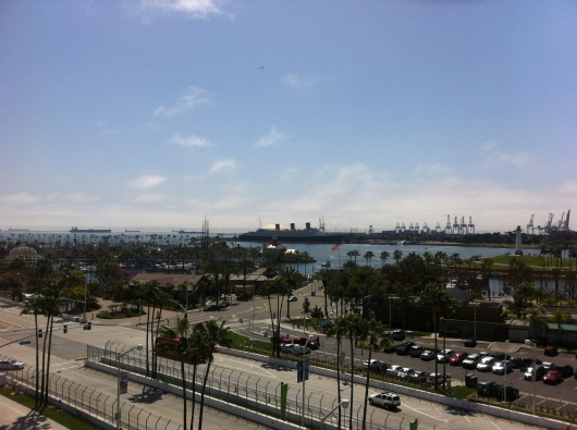 The view toward the Queen Mary from the Ferris wheel at The Pike at Long Beach.
