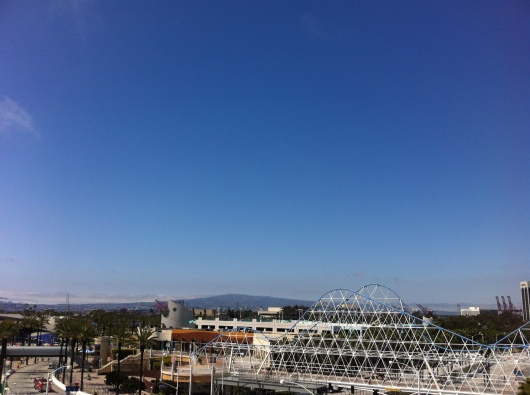 The view toward Rancho Palos Verdes from the Ferris wheel at The Pike at Long Beach. The rollercoaster is not an operational ride anymore, just decoration over one of the local bridges.