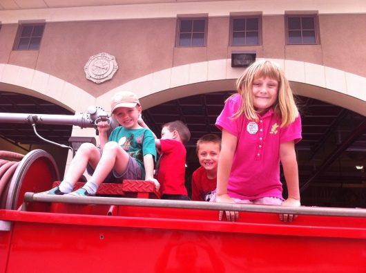 T and friends climbing on an older fire engine last Sunday during the pancake breakfast.