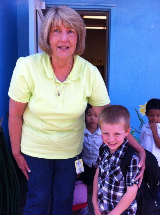 Mrs. Willson and T at dismissal on the last day of Transitional Kindergarten at Tincher.