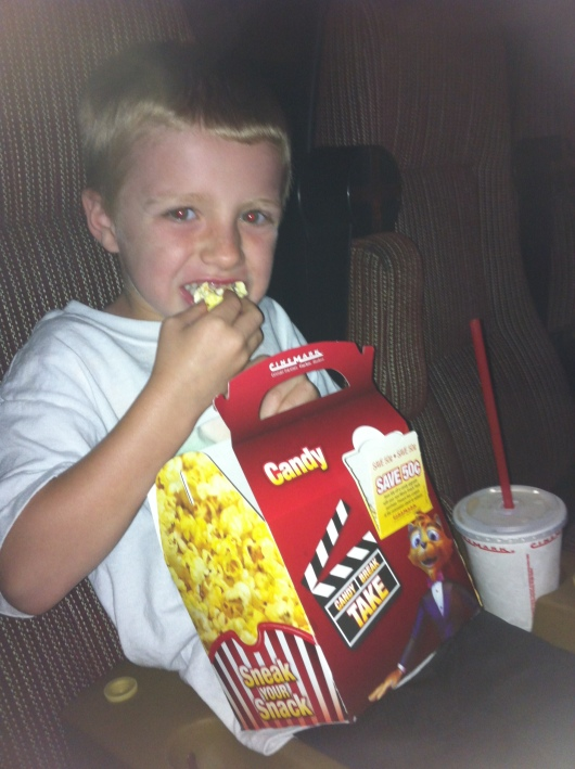 T at the $1 Cinemark Summer Movie Express today. We saw Horton Hears a Who! - very cute flick! Oh and the kid's tray is $1 off with a coupon that's printed on the summer movie schedule (can be reused also; fliers available at the theatre).