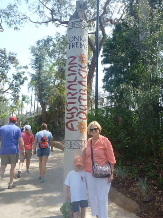 "T and Grandma Beep at the entrance to the new ""Koalafornia"" Outback Exhibit at the San Diego Zoo."